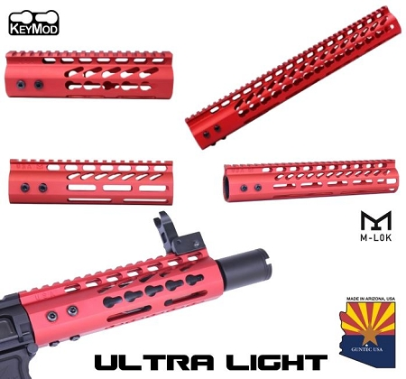 Guntec USA RED Ultra LIGHTWEIGHT Monolithic Top Rail Thin Free Float Handguard AR15 AR-15 Keymod M-LOK