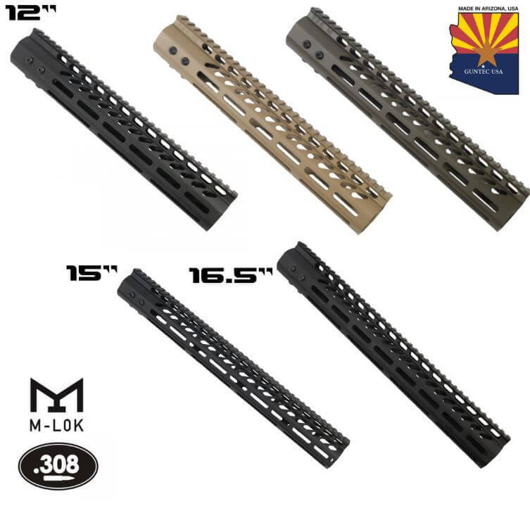 Guntec USA 308 M-LOK Lightweight Free Float Handguard DPMS Low Profile