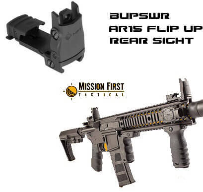 MFT Mission First BUPSWrF Flip up AR15 REAR Sight BUIS AR-15