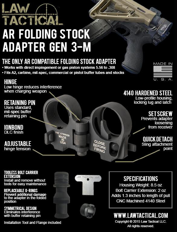 Law Tactical AR15 Folding Stock Adapter Gen 3-M AR-15 Folder