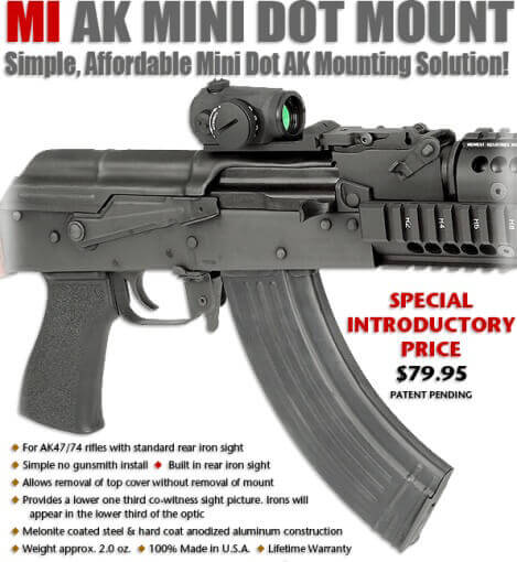 Midwest Industries AK Mini Dot Mount Aimpoint T1 Primary Arms MD06 Vortex Sparc MI