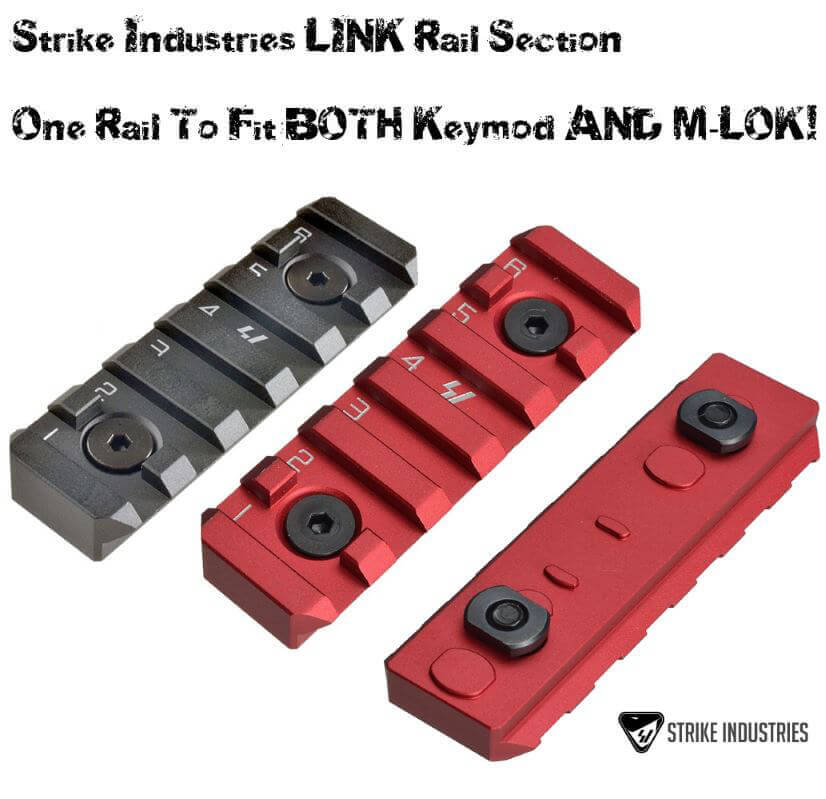 Strike Industries Link Red 6 Slot Rail Section for KeyMod and Mlok SI-LINK-RS-6