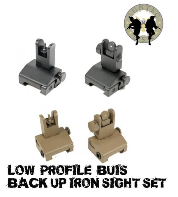 Guntec USA AR15 Spring Assisted Low Profile Flip Up Sight Set