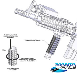 Manta Rails VGS Vertical Forward Grip Sleeve for Remote Pressure Pad