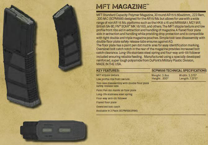 Mission First Tactical MFT Standard Polymer Magazine AR15 5.56