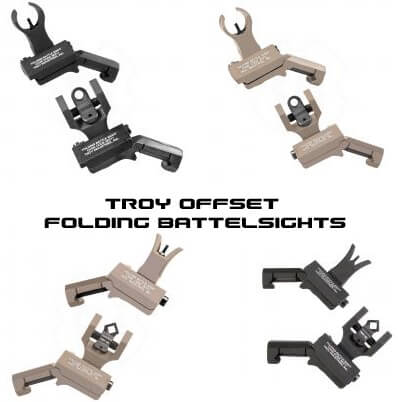 Troy Offset Folding Sight Set HK Front Round Rear or M4 Front Dioptic Rear 45 Degree Angle AR15 AR-15