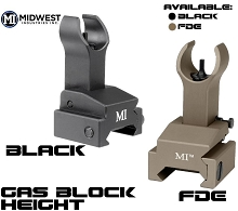 MI Gas Block Mounted Front Flip Up Sight BUIS AR15 Midwest