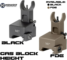 MI Low Profile Gas Block Mounted Front Flip Up Sight BUIS AR15 Midwest