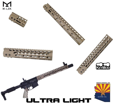 Guntec USA FDE Ultra LIGHTWEIGHT Monolithic Top Rail Thin Free Float Handguard AR15 AR-15 Keymod M-LOK