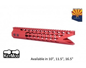 Guntec USA Red Ultra Slimline Octagonal 5 Sided Keymod Free Float Handguard W/ Shark Mouth