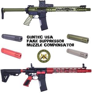 Guntec USA Fake Can Muzzle Brake Compensator Barrel Extension AR10 AR15  AR-15