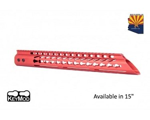 Guntec USA Red Ultra Lightweight Thin Keymod Free Float Handguard W/ Slant Nose