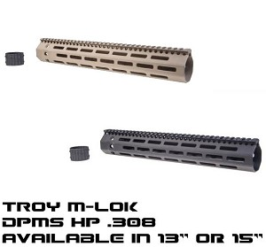 "Troy MLOK .308 BattleRail M-LOK 13.75"" or 15"" DPMS HP High Profile Handguard Rail"