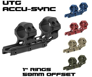 "UTG ACCU-SYNC 1"" High Profile 50mm Offset Picatinny Rings"