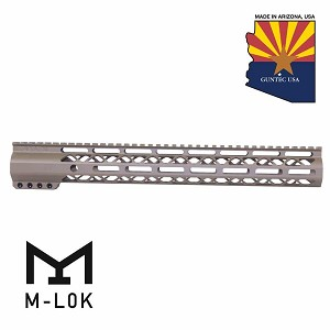 "Guntec USA 15"" FDE AIR-LOK M-LOK Compression AR-15 Free Floating Handguard Monolithic Top Rail MLOK AR15"