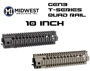 "Midwest Industries MI Gen3 T-Series 10"" Specter Length One Piece Free Float Handguard"