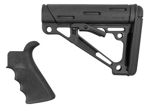 Hogue AR15 OverMolded 2-Piece Kit AR-15 Collapsible Buttstock Pistol Grip Rubber Black Set