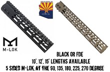 GuntecUSA Ultra Slim OCTAGONAL 5 SIDED M-LOK AR Float Handguard