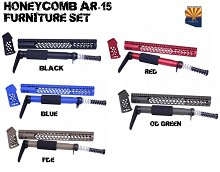 Guntec AR15 Honeycomb Handguard Stock Grip Set Blue FDE Red ODG