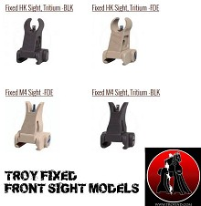 Troy Fixed Front Sight Available in M4 HK Black FDE Tritium