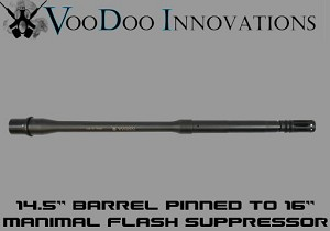 "Adams Arms 14.5"" Mid Length Government Profile VooDoo Barrel PINNED Manimal"