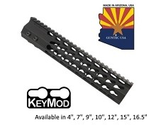 Guntec USA Black Ultra Slimline Octagonal 5 Sided Keymod Free Float Handguard