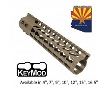 Guntec USA Flat Dark Earth Ultra Slimline Octagonal 5 Sided Keymod Free Float Handguard