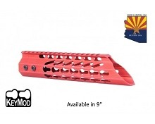 Guntec USA Red Ultra Slimline Octagonal 5 Sided Keymod Free Float Handguard W/ Slant Nose