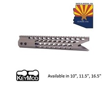 Guntec USA Flat Dark Earth Ultra Slimline Octagonal 5 Sided Keymod Free Float Handguard W/ Shark Mouth