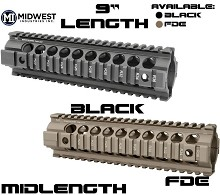 Midwest Industries Midlength Gen2 Two Piece Free Float Quad Rail AR15 Handguard MI