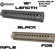Midwest Industries Rifle Length Free Float Quad Rail AR15 Gen2 Two Piece Handguard MI