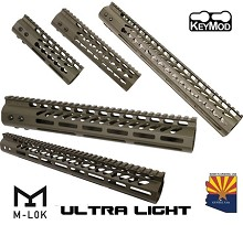 Guntec USA OD GREEN Ultra LIGHTWEIGHT Monolithic Top Rail Thin Free Float Handguard AR15 AR-15 Keymod M-LOK