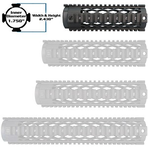 "YHM 7.29"" Black Diamond Forearm Carbine AR15 Free Float Quad Rail Handguard"